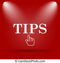 Tips icon. Flat icon on red background.