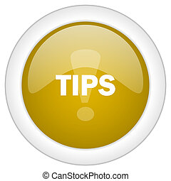 tips icon, golden round glossy button, web and mobile app design illustration