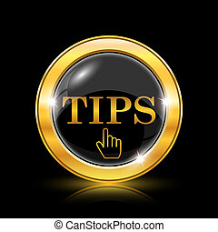 Tips icon - Golden shiny icon on black background - internet...