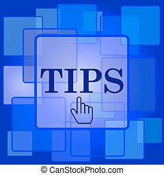 Tips icon. Internet button on abstract background.