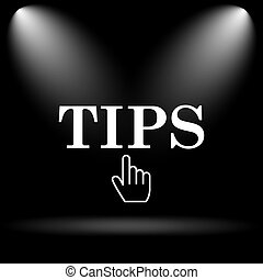 Tips icon. Internet button on black background.