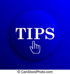 Tips icon. Internet button on blue background.