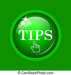 Tips icon. Internet button on green background.