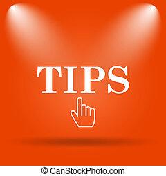 Tips icon. Internet button on orange background.