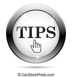 Tips icon - Metallic icon with black design on white glass ...