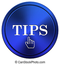 Tips icon - Metallic icon with white design on blue ...