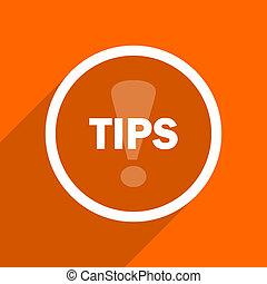 tips icon. Orange flat button. Web and mobile app design illustration