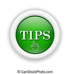 Tips icon - Round plastic icon with white design on green ...