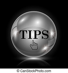 Tips icon - Shiny glossy icon - glass ball on black ...