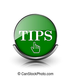 Tips icon - Green shiny glossy icon on white background