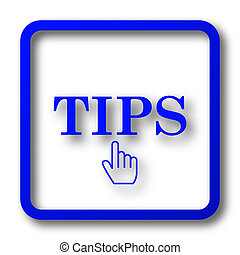 Tips icon. Tips website button on white background.