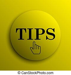 Tips icon. Yellow internet button.
