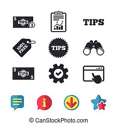 Tips icons. Cash with coin money symbol.