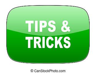 tips, pictogram, trucs, groene