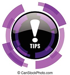 Tips pink violet modern design vector web and smartphone icon. Round button in eps 10 isolated on white background.
