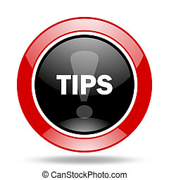 tips red and black web glossy round icon