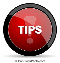 tips red circle glossy web icon on white background - set440