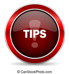 tips red circle glossy web icon, round button with metallic border