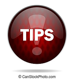 tips red glossy web icon on white background