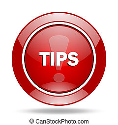 tips red web glossy round icon