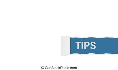 Tips sign on blue shot clip