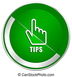 Tips silver metallic border green web icon for mobile apps and internet.