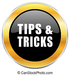 Tips tricks black web icon with golden border isolated on white background. Round glossy button.