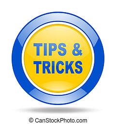tips tricks blue and yellow web glossy round icon