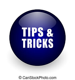 Tips tricks blue glossy ball web icon on white background. Round 3d render button.