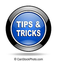 tips tricks blue glossy icon