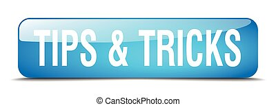 tips & tricks blue square 3d realistic isolated web button