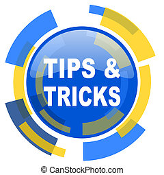 tips tricks blue yellow glossy web icon