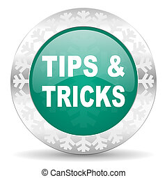 tips tricks green icon, christmas button