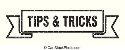 tips & tricks grunge ribbon. tips & tricks sign. tips & ...