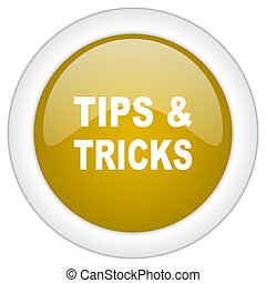 tips tricks icon, golden round glossy button, web and mobile app design illustration