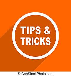 tips tricks icon. Orange flat button. Web and mobile app design illustration
