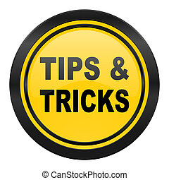 tips tricks icon, yellow logo,
