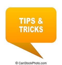 tips tricks orange bulb web icon isolated.