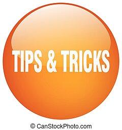 tips & tricks orange round gel isolated push button