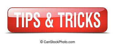 tips & tricks red square 3d realistic isolated web button