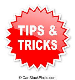 tips tricks red tag, sticker, label, star, stamp, banner, advertising, badge, emblem, web icon