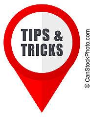 Tips tricks red web pointer icon. Webdesign button on white background.