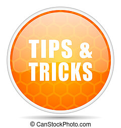 Tips tricks web icon. Round orange glossy internet button for webdesign.