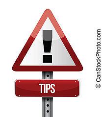 tips warning road sign illustration design