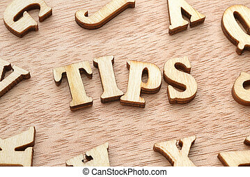 Tips word wooden letters