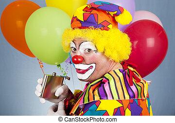 Tipsy Clown Sneaks a Drink - Alcoholic clown sneaks a drink...