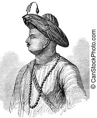 Tipu Sultan (1750-1799) on engraving from 1800s. Also known...