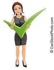 tique, femme affaires, 3d, vert, énorme