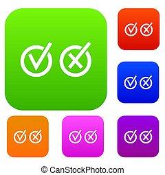 tique, signes, cercles, ensemble, croix, collection, choix