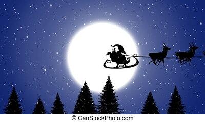 tiré, claus, traîneau, santa, reindeers